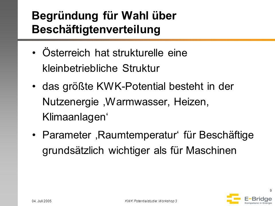 04. Juli 2005KWK Potentialstudie: Workshop 3 9 Begründung für Wahl über Beschäftigtenverteilung Österreich hat strukturelle eine kleinbetriebliche Str