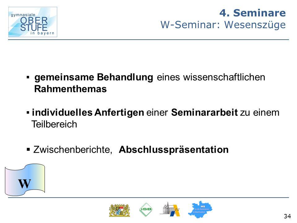 34 4. Seminare W-Seminar: Wesenszüge gemeinsame Behandlung eines wissenschaftlichen Rahmenthemas individuelles Anfertigen einer Seminararbeit zu einem