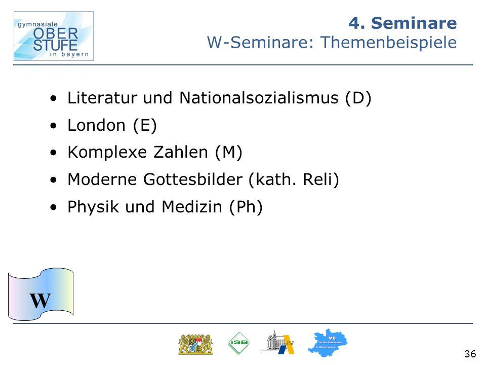 36 Literatur und Nationalsozialismus (D) London (E) Komplexe Zahlen (M) Moderne Gottesbilder (kath. Reli) Physik und Medizin (Ph) 4. Seminare W-Semina