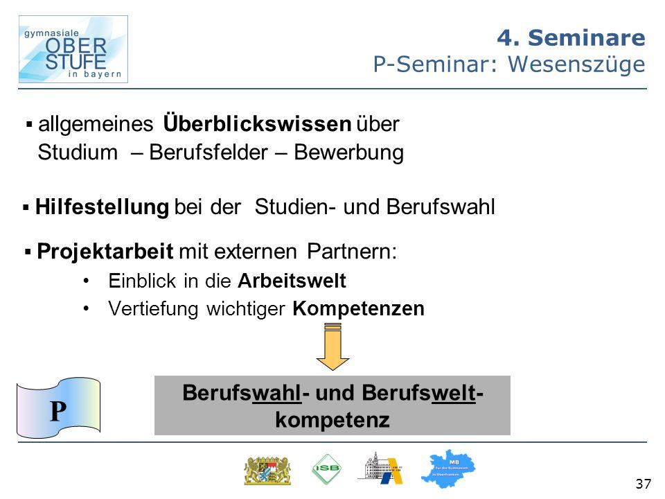37 4. Seminare P-Seminar: Wesenszüge Projektarbeit mit externen Partnern: Einblick in die Arbeitswelt Vertiefung wichtiger Kompetenzen allgemeines Übe