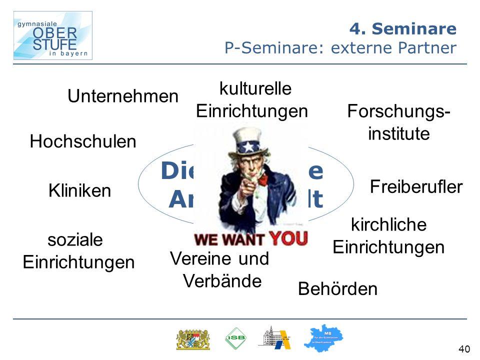 40 4. Seminare P-Seminare: externe Partner Die gesamte Arbeitswelt Unternehmen Behörden Forschungs- institute Kliniken soziale Einrichtungen kulturell