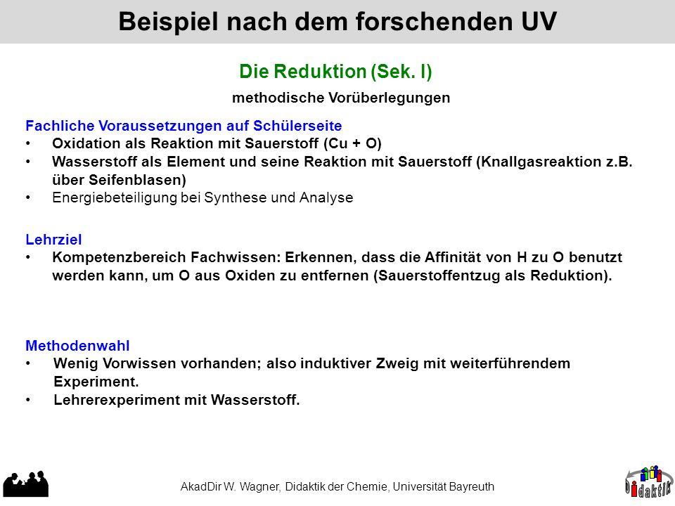 AkadDir W. Wagner, Didaktik der Chemie, Universität Bayreuth Beispiel nach dem forschenden UV Die Reduktion (Sek. I) methodische Vorüberlegungen Fachl