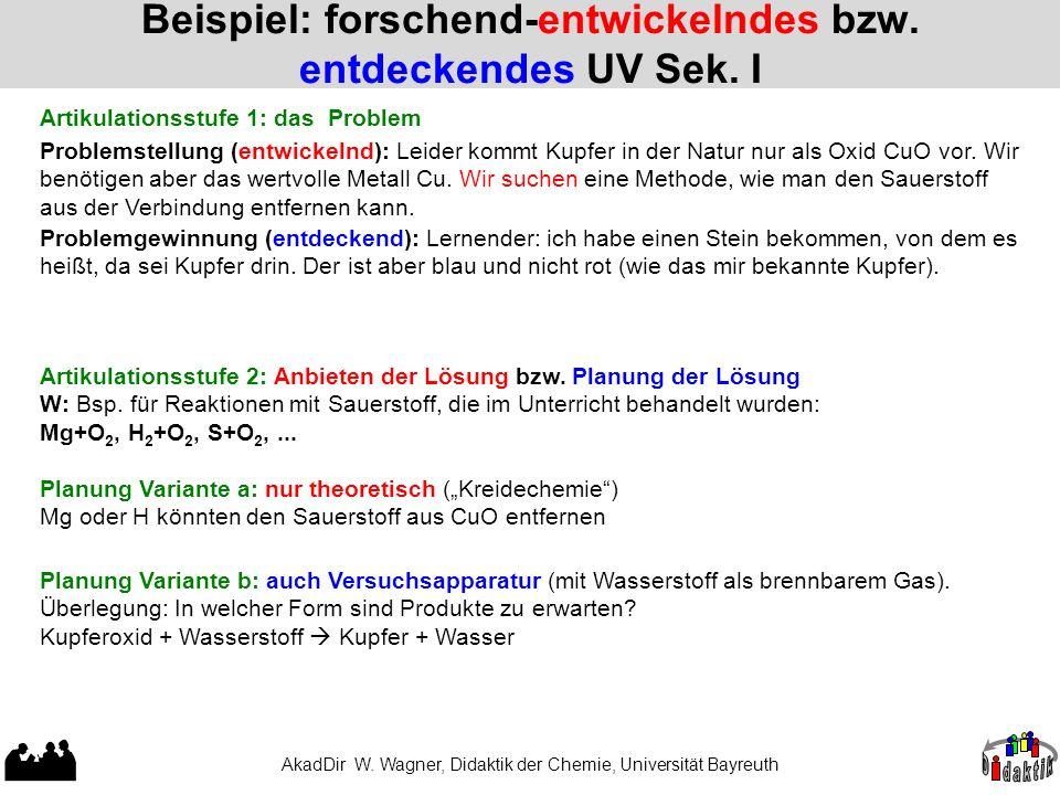 AkadDir W. Wagner, Didaktik der Chemie, Universität Bayreuth Beispiel: forschend-entwickelndes bzw. entdeckendes UV Sek. I Problemstellung (entwickeln