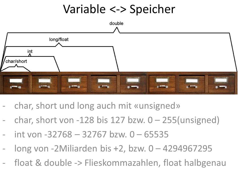 Variable Speicher -char, short und long auch mit «unsigned» -char, short von -128 bis 127 bzw. 0 – 255(unsigned) -int von -32768 – 32767 bzw. 0 – 6553