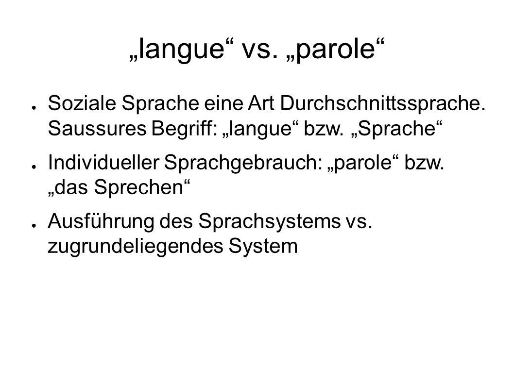 langue vs.parole Soziale Sprache eine Art Durchschnittssprache.