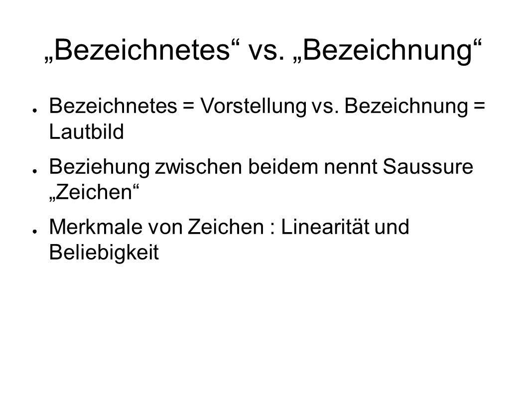 Bezeichnetes vs.Bezeichnung Bezeichnetes = Vorstellung vs.