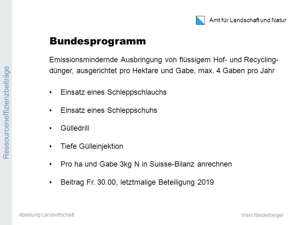 Amt für Landschaft und Natur REB / GMF / Extenso Vreni Niederberger Bundesprogramm Emissionsmindernde Ausbringung von flüssigem Hof- und Recycling- dü