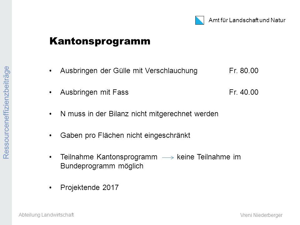 Amt für Landschaft und Natur REB / GMF / Extenso Vreni Niederberger Kantonsprogramm Ausbringen der Gülle mit VerschlauchungFr. 80.00 Ausbringen mit Fa