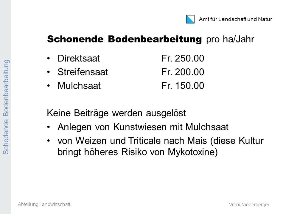 Amt für Landschaft und Natur REB / GMF / Extenso Vreni Niederberger Schonende Bodenbearbeitung pro ha/Jahr Direktsaat Fr. 250.00 StreifensaatFr. 200.0