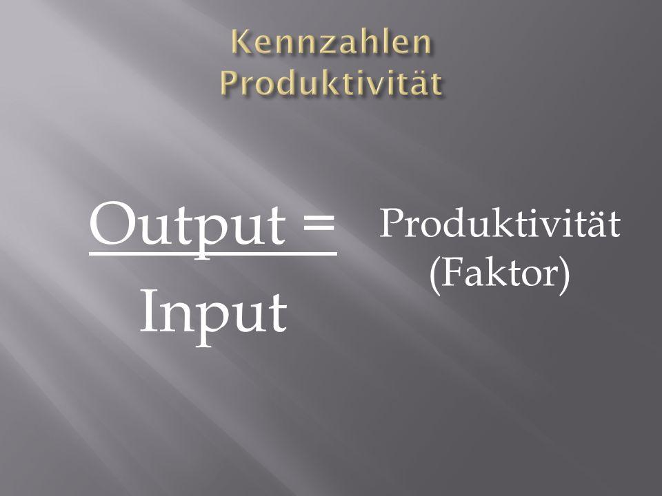 Output = Input Produktivität (Faktor)
