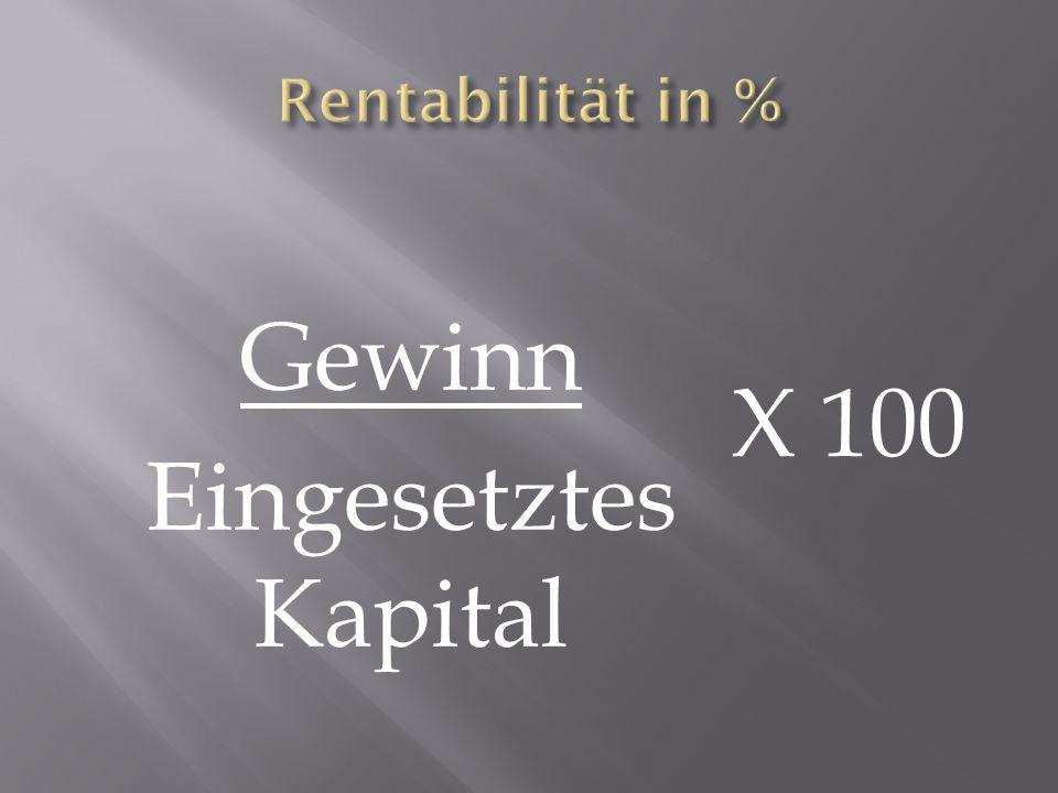 Gewinn Eingesetztes Kapital X 100