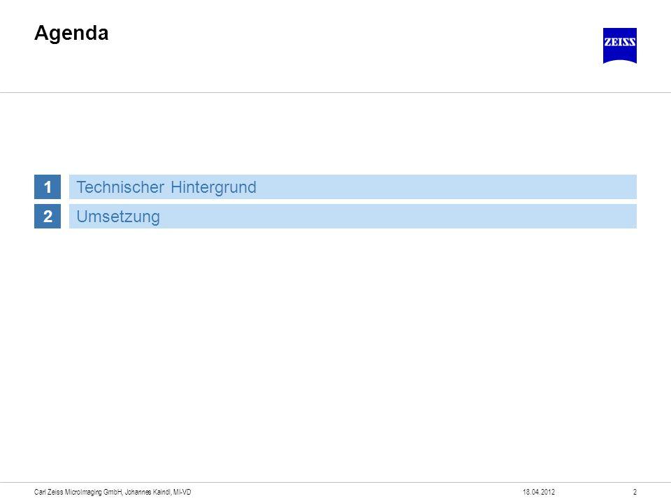 Agenda 18.04.20123Carl Zeiss MicroImaging GmbH, Johannes Kaindl, MI-VD 1 2Umsetzung Technischer Hintergrund