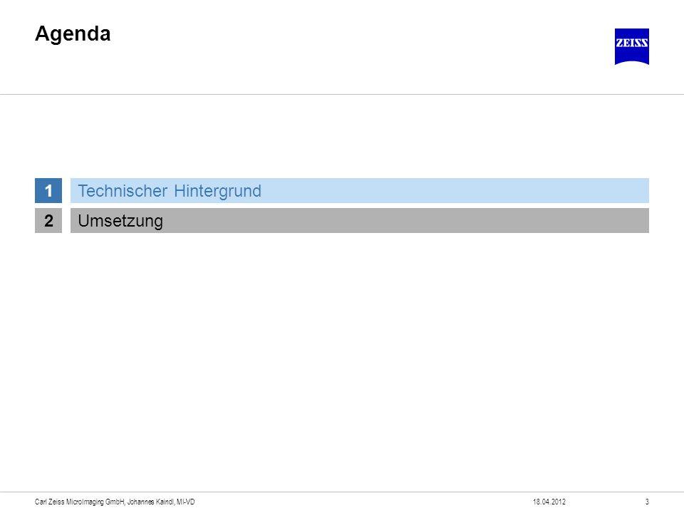 Korrelative Mikroskopie Hintergrund Wunsch Stufenloses Eintauchen Wirklichkeit Auflösungsgrenze in der Lichtmikroskopie Höhere Auflösung: Rasterelektronenmikroskope Andere Technologie, andere Gerätetechnik Folge Systemwechsel nötig Orientierung auf der Probe geht verloren Zeitaufwändiges Suchen der interessierenden Bereiche 18.04.20124Carl Zeiss MicroImaging GmbH, Johannes Kaindl, MI-VD nm µm