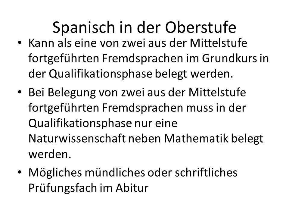 Spanisch in der Oberstufe Kann als eine von zwei aus der Mittelstufe fortgeführten Fremdsprachen im Grundkurs in der Qualifikationsphase belegt werden.