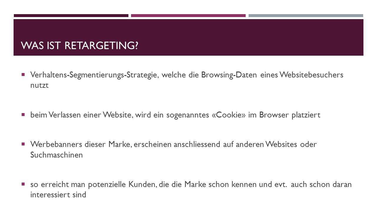 WAS IST RETARGETING? Verhaltens-Segmentierungs-Strategie, welche die Browsing-Daten eines Websitebesuchers nutzt beim Verlassen einer Website, wird ei