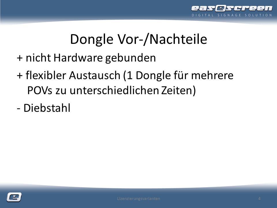 Dongle Vor-/Nachteile + nicht Hardware gebunden + flexibler Austausch (1 Dongle für mehrere POVs zu unterschiedlichen Zeiten) - Diebstahl Lizenzierungsvarianten4