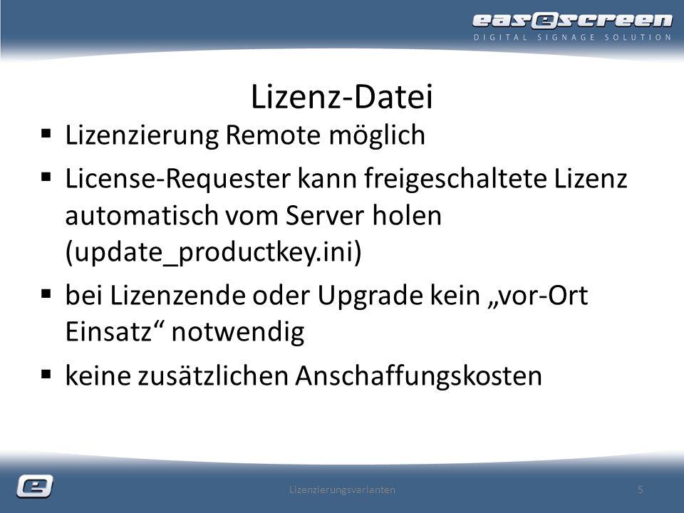 Lizenz-Datei Lizenzierung Remote möglich License-Requester kann freigeschaltete Lizenz automatisch vom Server holen (update_productkey.ini) bei Lizenzende oder Upgrade kein vor-Ort Einsatz notwendig keine zusätzlichen Anschaffungskosten Lizenzierungsvarianten5