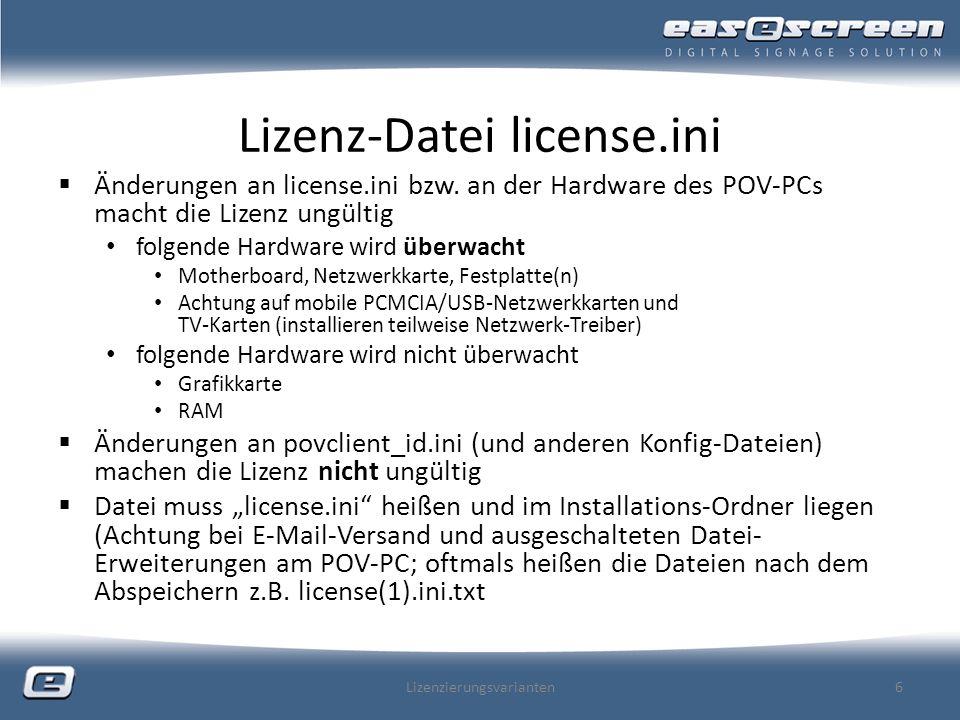 Lizenz-Datei license.ini Änderungen an license.ini bzw.