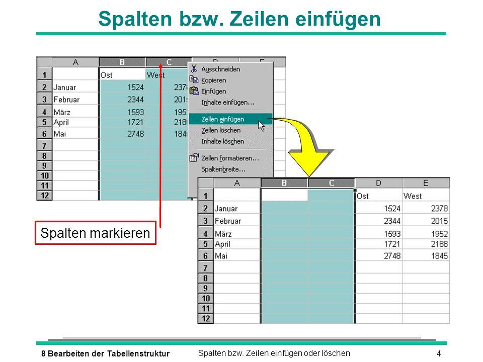 58 Bearbeiten der TabellenstrukturSpalten bzw.Zeilen einfügen oder löschen Spalten bzw.