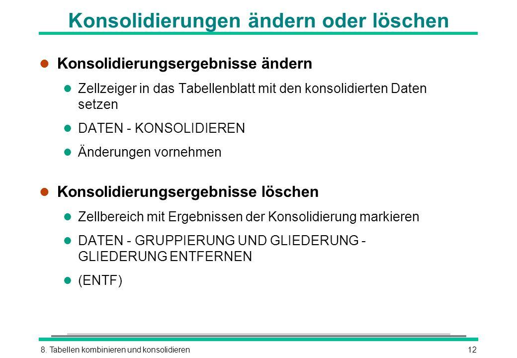 8. Tabellen kombinieren und konsolidieren12 Konsolidierungen ändern oder löschen l Konsolidierungsergebnisse ändern l Zellzeiger in das Tabellenblatt