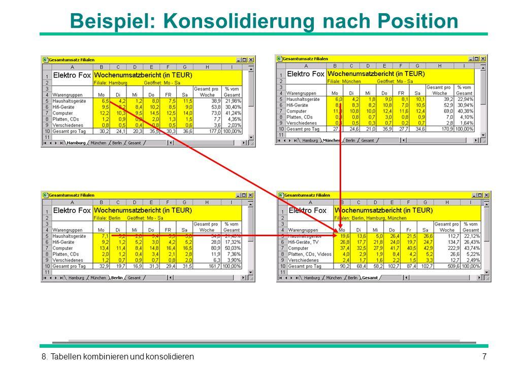 8. Tabellen kombinieren und konsolidieren7 Beispiel: Konsolidierung nach Position
