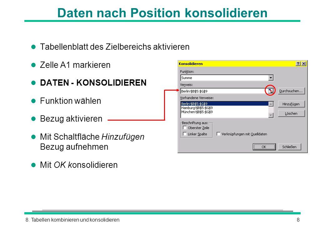 8. Tabellen kombinieren und konsolidieren8 Daten nach Position konsolidieren l Tabellenblatt des Zielbereichs aktivieren l Zelle A1 markieren l DATEN