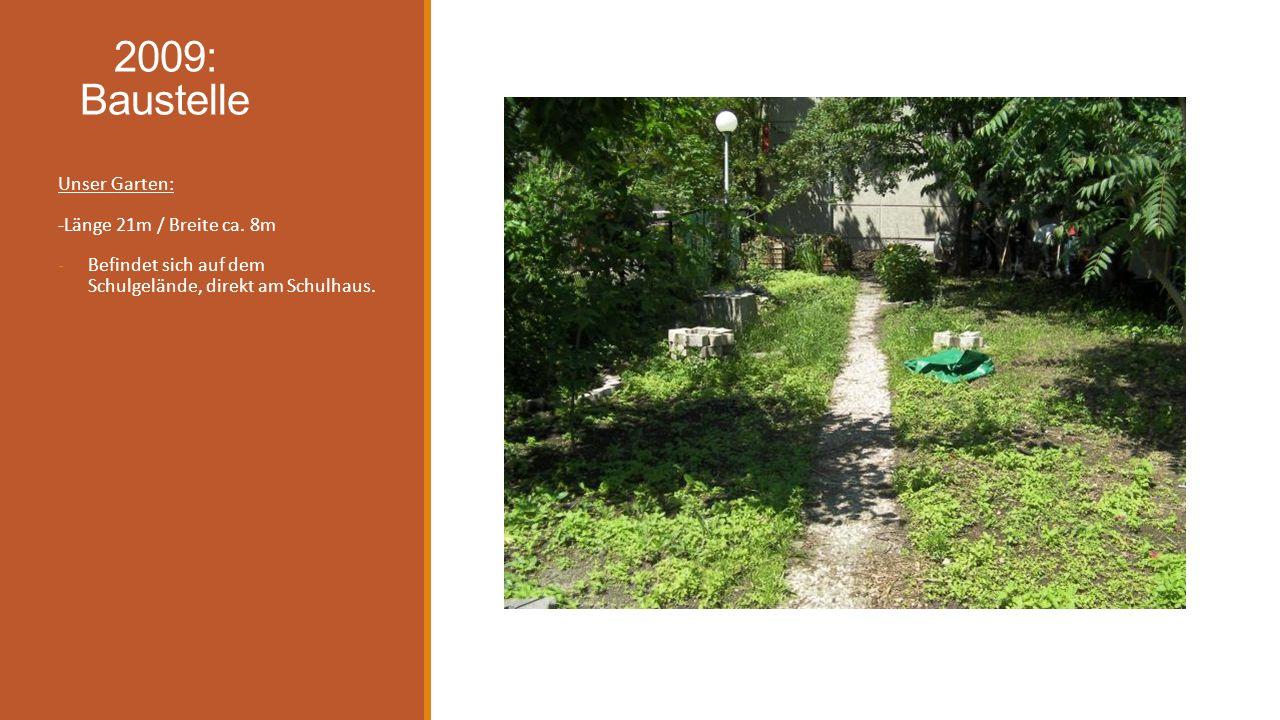 2009: Baustelle Unser Garten: -Länge 21m / Breite ca. 8m -Befindet sich auf dem Schulgelände, direkt am Schulhaus.