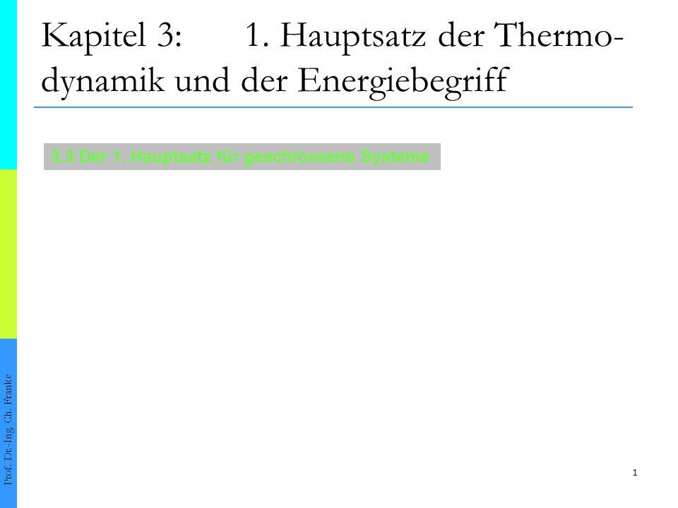 1 Kapitel 3:1. Hauptsatz der Thermo- dynamik und der Energiebegriff Prof. Dr.-Ing. Ch. Franke 3.3 Der 1. Hauptsatz für geschlossene Systeme