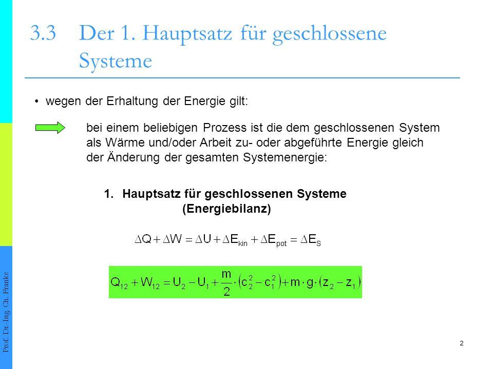 2 Prof. Dr.-Ing. Ch. Franke wegen der Erhaltung der Energie gilt: bei einem beliebigen Prozess ist die dem geschlossenen System als Wärme und/oder Arb
