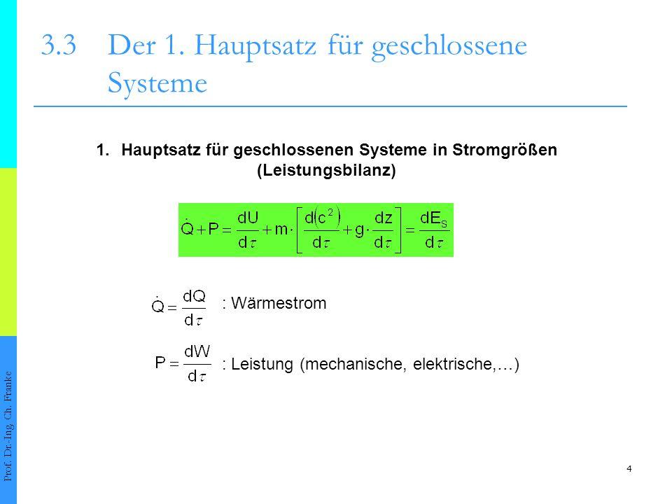 4 3.3Der 1. Hauptsatz für geschlossene Systeme Prof. Dr.-Ing. Ch. Franke 1.Hauptsatz für geschlossenen Systeme in Stromgrößen (Leistungsbilanz) : Wärm