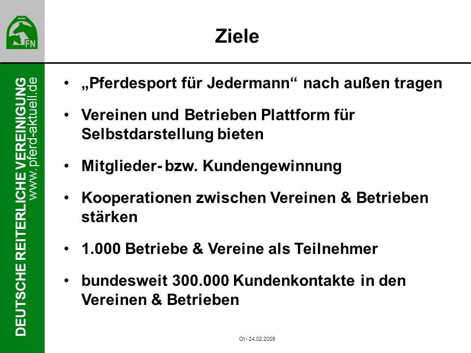 www.pferd-aktuell.de DEUTSCHE REITERLICHE VEREINIGUNG Ziele Pferdesport für Jedermann nach außen tragen Vereinen und Betrieben Plattform für Selbstdarstellung bieten Mitglieder- bzw.
