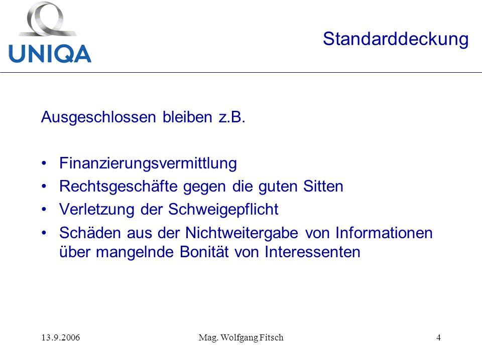 13.9.2006Mag. Wolfgang Fitsch4 Standarddeckung Ausgeschlossen bleiben z.B.