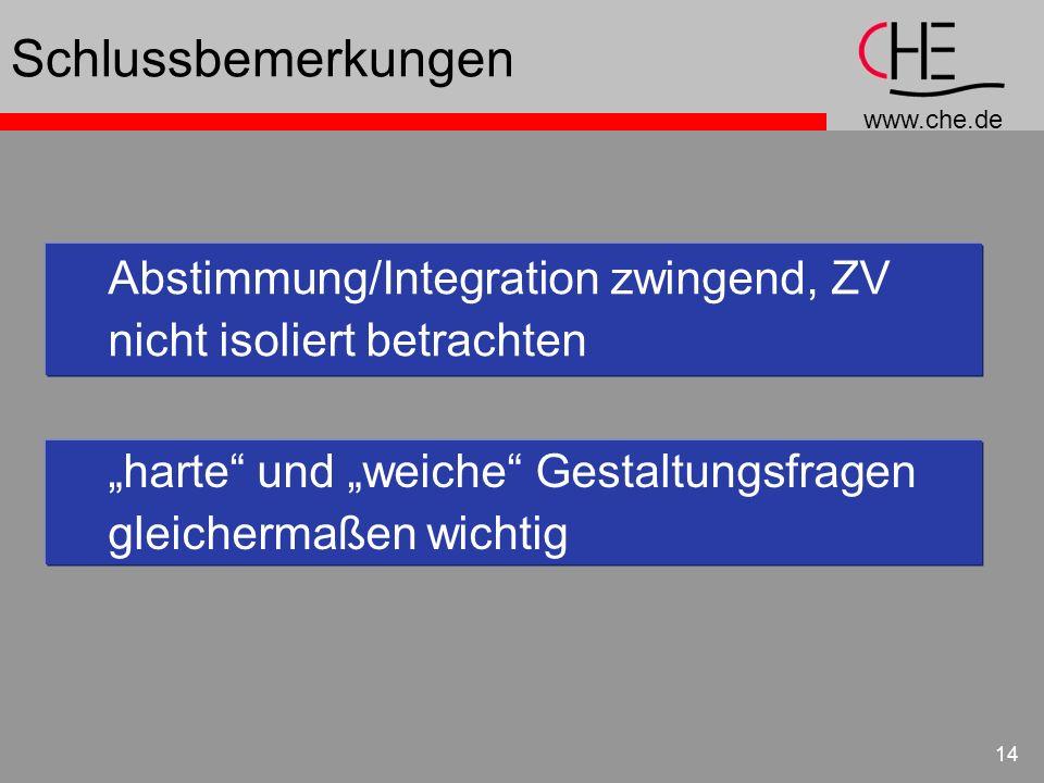 www.che.de 14 Schlussbemerkungen Abstimmung/Integration zwingend, ZV nicht isoliert betrachten harte und weiche Gestaltungsfragen gleichermaßen wichti