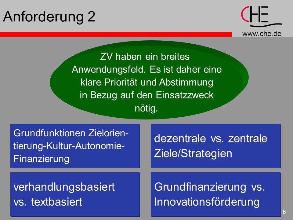 www.che.de 6 Anforderung 2 ZV haben ein breites Anwendungsfeld. Es ist daher eine klare Priorität und Abstimmung in Bezug auf den Einsatzzweck nötig.
