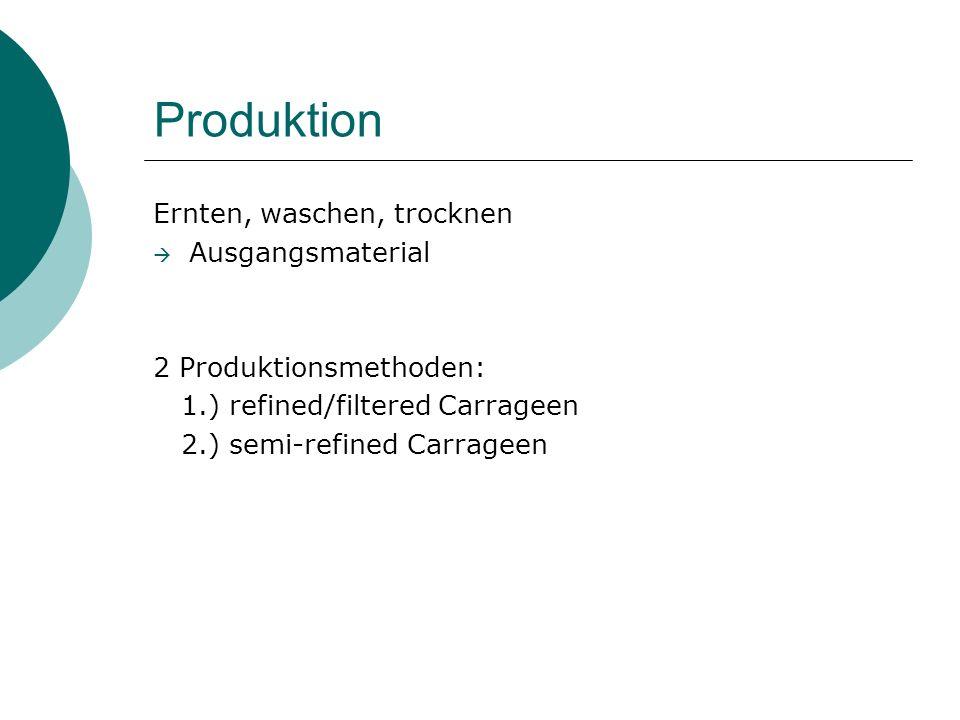 Produktion Ernten, waschen, trocknen Ausgangsmaterial 2 Produktionsmethoden: 1.) refined/filtered Carrageen 2.) semi-refined Carrageen