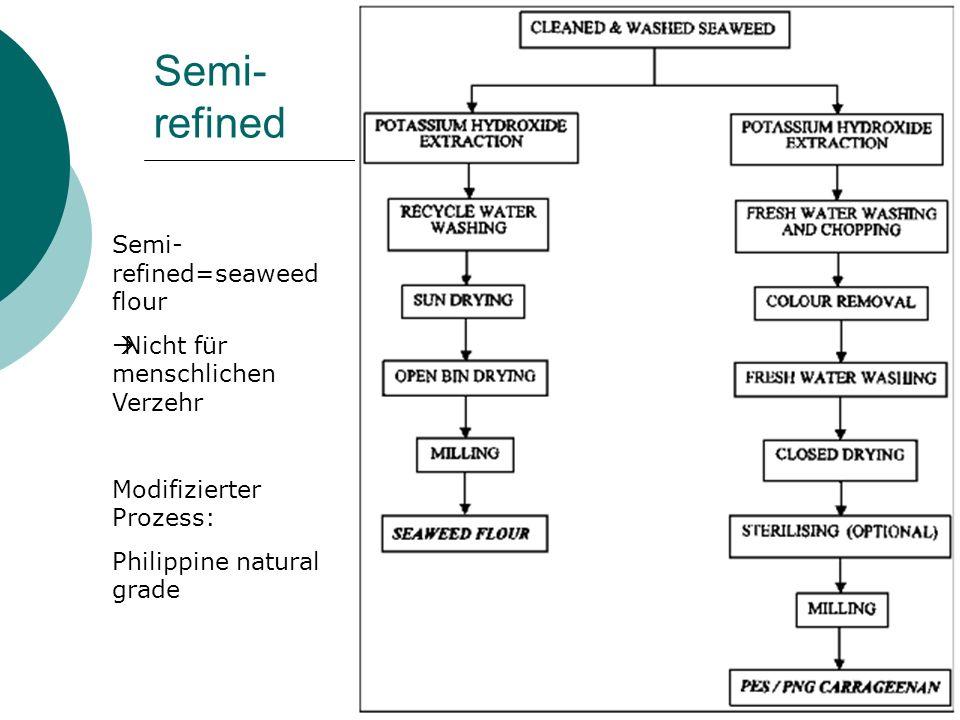 Semi- refined Semi- refined=seaweed flour Nicht für menschlichen Verzehr Modifizierter Prozess: Philippine natural grade