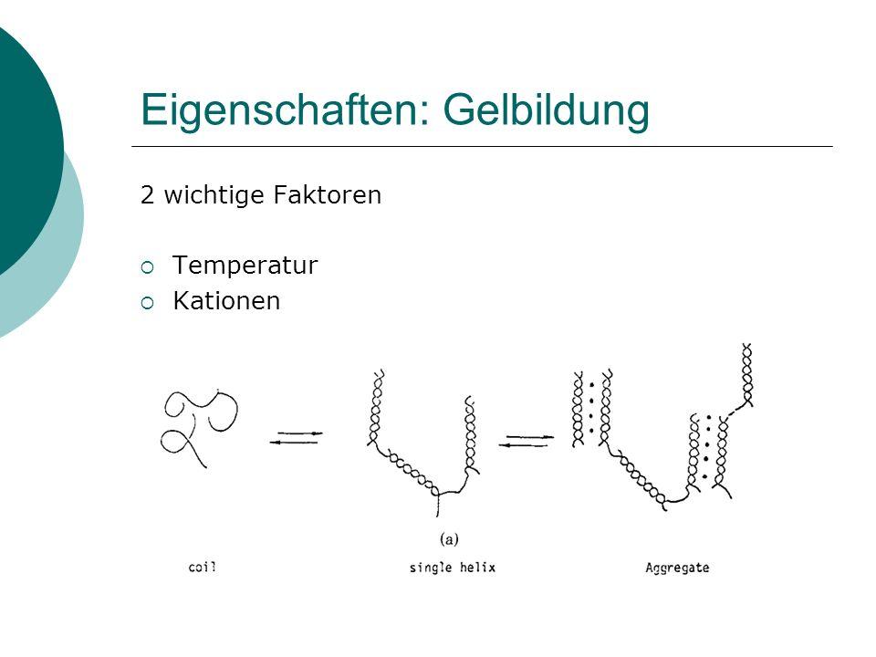 Eigenschaften: Gelbildung 2 wichtige Faktoren Temperatur Kationen