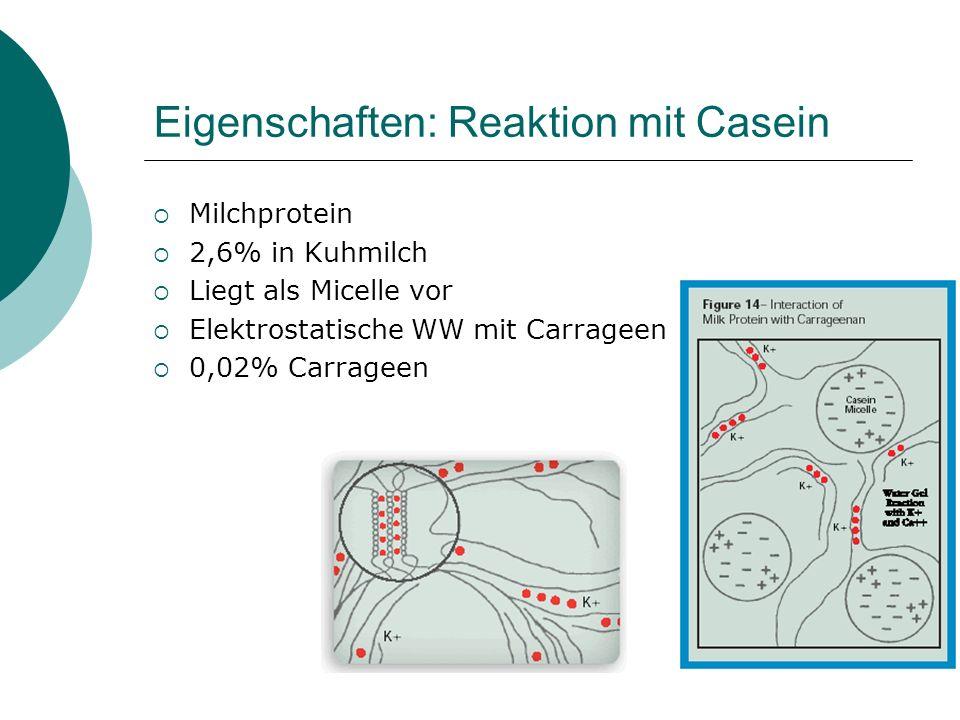 Eigenschaften: Reaktion mit Casein Milchprotein 2,6% in Kuhmilch Liegt als Micelle vor Elektrostatische WW mit Carrageen 0,02% Carrageen