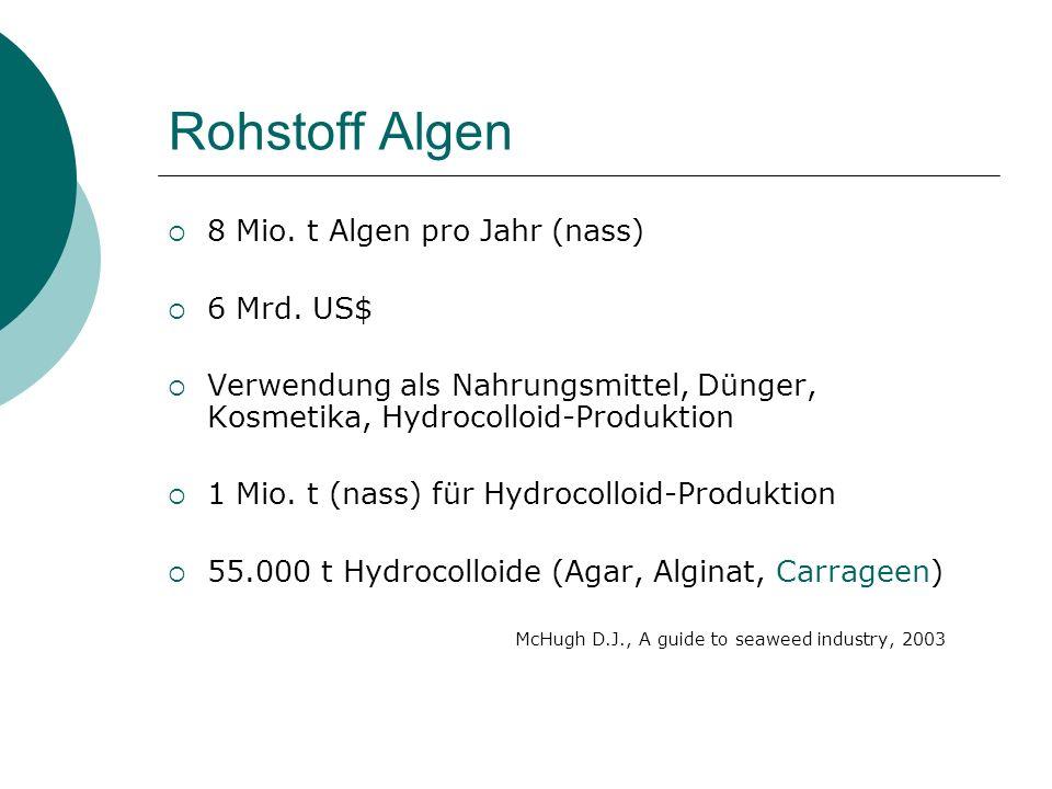 Rohstoff Algen 8 Mio. t Algen pro Jahr (nass) 6 Mrd. US$ Verwendung als Nahrungsmittel, Dünger, Kosmetika, Hydrocolloid-Produktion 1 Mio. t (nass) für