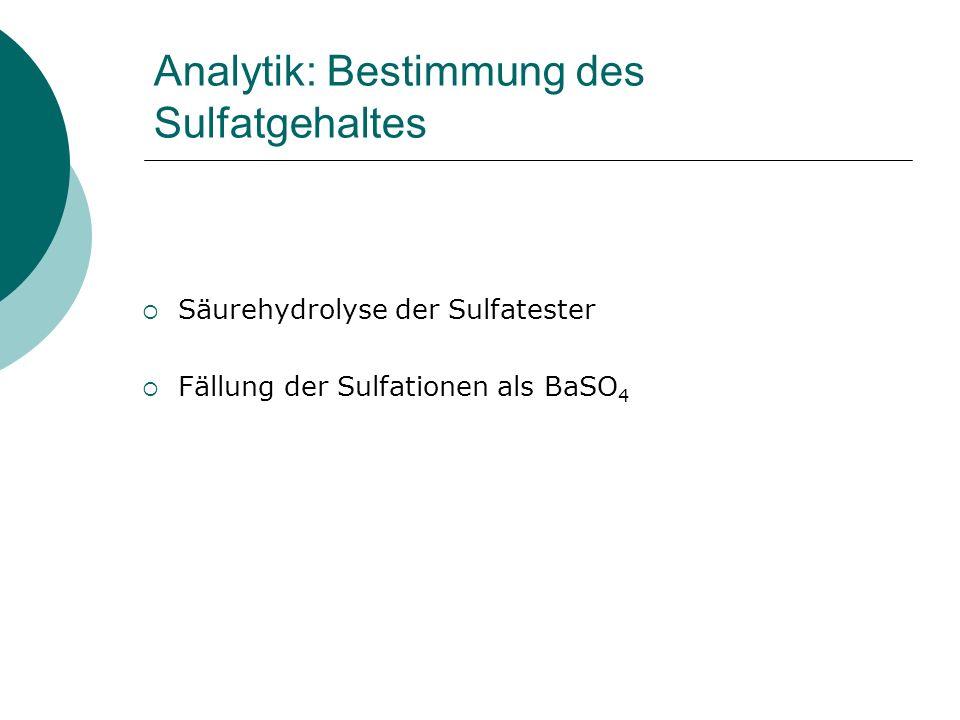 Analytik: Bestimmung des Sulfatgehaltes Säurehydrolyse der Sulfatester Fällung der Sulfationen als BaSO 4