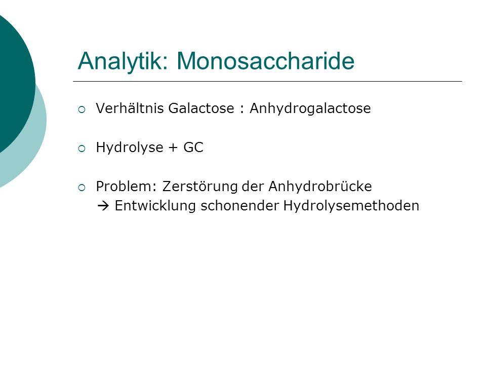 Analytik: Monosaccharide Verhältnis Galactose : Anhydrogalactose Hydrolyse + GC Problem: Zerstörung der Anhydrobrücke Entwicklung schonender Hydrolyse