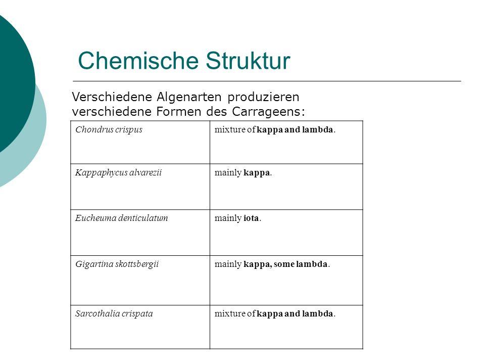 Chemische Struktur Chondrus crispusmixture of kappa and lambda. Kappaphycus alvareziimainly kappa. Eucheuma denticulatummainly iota. Gigartina skottsb