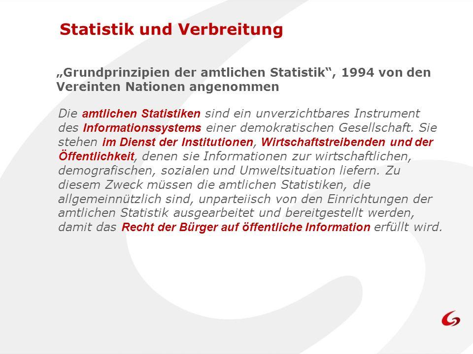 Statistik und Verbreitung Verhaltenskodex für europäische Statistiken 2005 vom Statistical Programme Committee übernommen Grundsatz 10: Die Ressourcen müssen wirtschaftlich eingesetzt werden.
