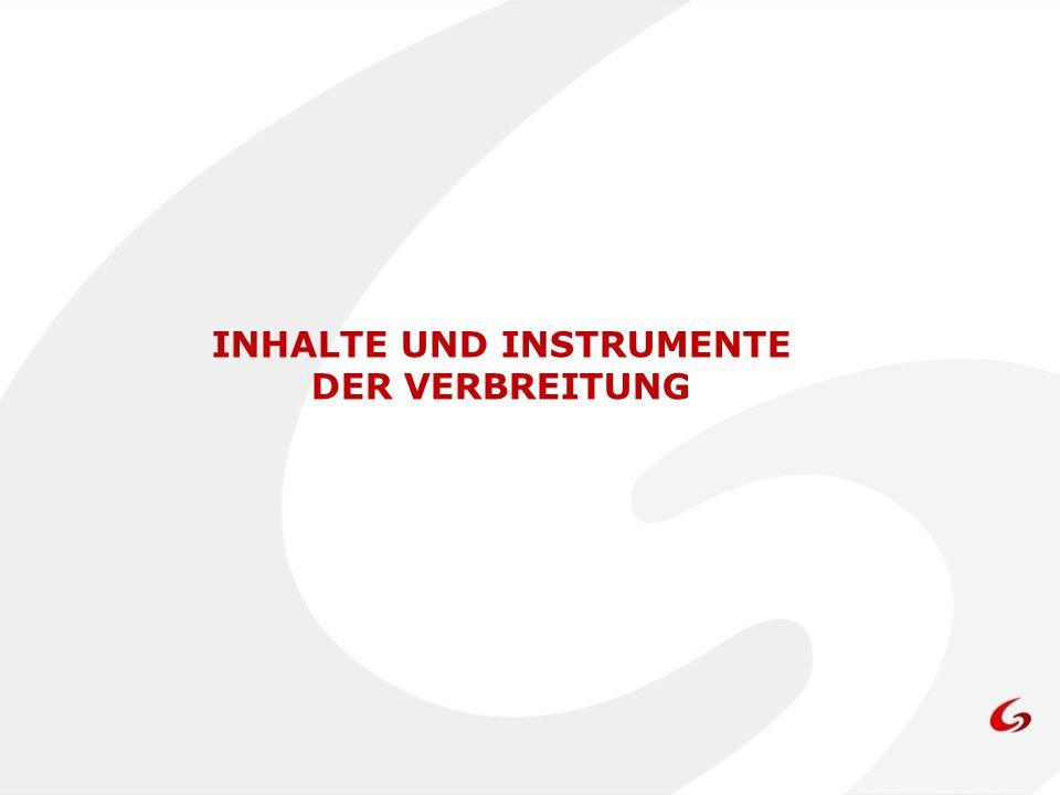 Inhalte und Instrumente der Verbreitung EMPFÄNGER INHALTE INSTRUMENTE
