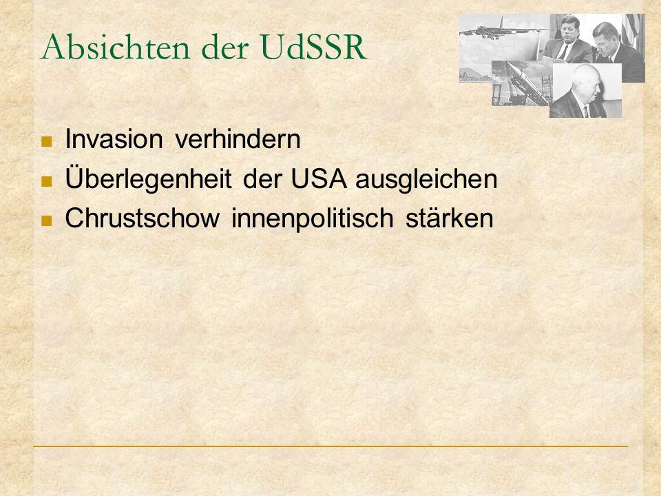 Absichten der UdSSR Invasion verhindern Überlegenheit der USA ausgleichen Chrustschow innenpolitisch stärken