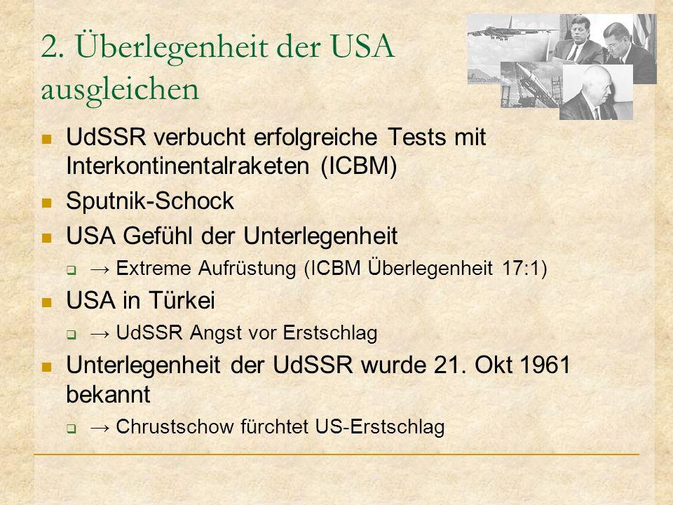 2. Überlegenheit der USA ausgleichen UdSSR verbucht erfolgreiche Tests mit Interkontinentalraketen (ICBM) Sputnik-Schock USA Gefühl der Unterlegenheit