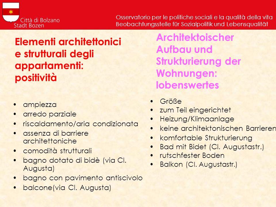 Elementi architettonici e strutturali degli appartamenti: positività ampiezza arredo parziale riscaldamento/aria condizionata assenza di barriere arch