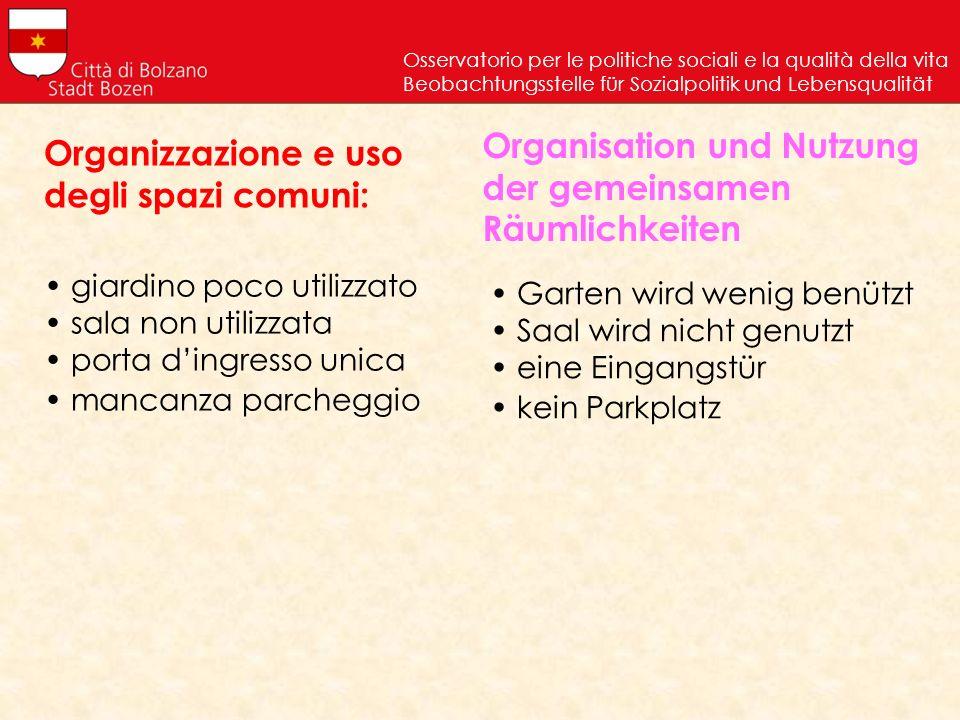 Organizzazione e uso degli spazi comuni: Osservatorio per le politiche sociali e la qualità della vita Beobachtungsstelle für Sozialpolitik und Lebens