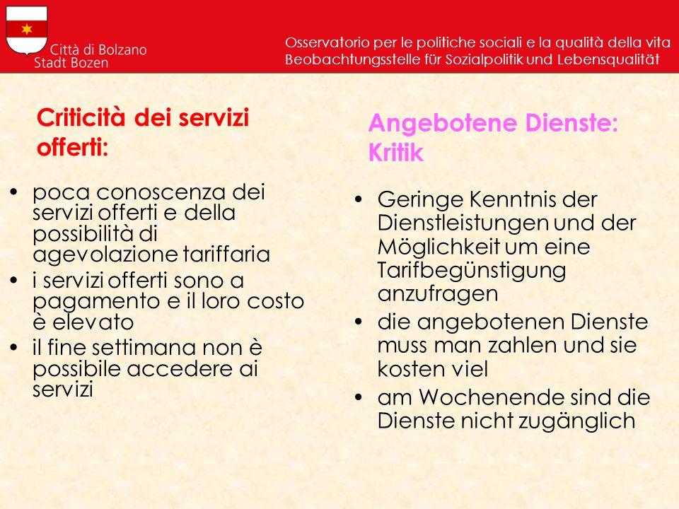 Criticità dei servizi offerti: poca conoscenza dei servizi offerti e della possibilità di agevolazione tariffaria i servizi offerti sono a pagamento e