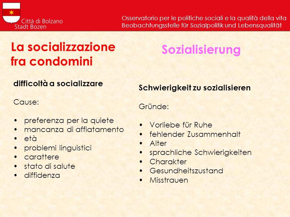 difficoltà a socializzare Cause: preferenza per la quiete mancanza di affiatamento età problemi linguistici carattere stato di salute diffidenza Osser